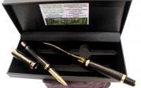 WOODEN BOG OAK GOLD ROLLERBALL PEN AND LETTER OPENER DESKSET