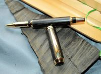 IRISH COLLECTION BOG OAK - Gold Plated Rollerball Pen