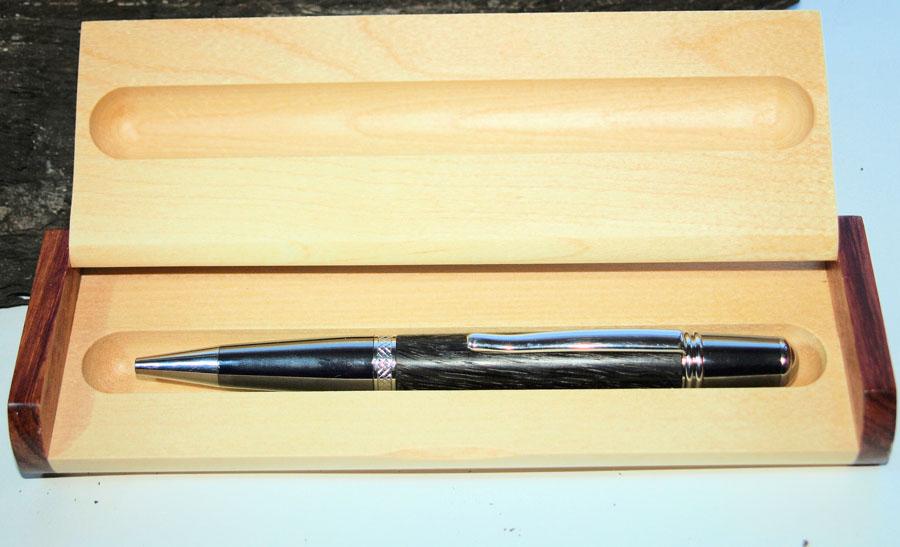 Handmade Irish Bog Oak wooden pen in wooden pen case